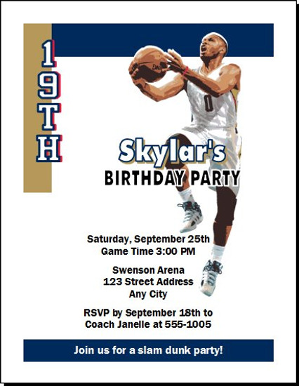 New Orleans Pelicans Colored Basketball Party Invitation