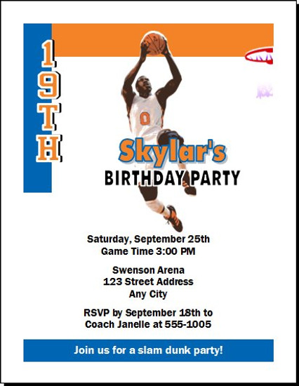 New York Knicks Colored Basketball Party Invitation