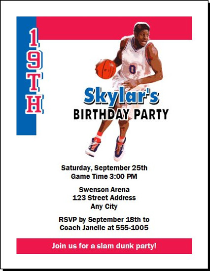 Philadelphia 76ers Colored Basketball Party Invitation