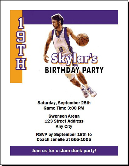 Phoenix Suns Colored Basketball Party Invitation