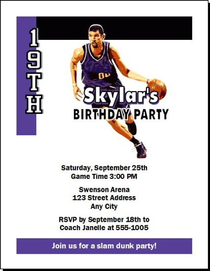 Sacramento Kings Colored Basketball Party Invitation