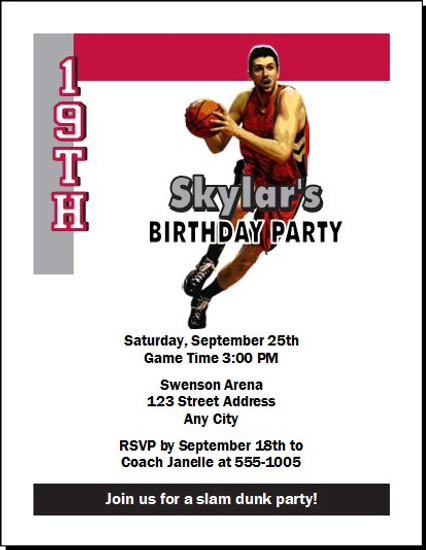 Toronto Raptors Colored Basketball Party Invitation