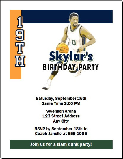 Utah Jazz Colored Basketball Party Invitation