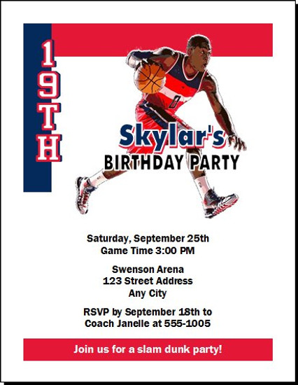 Washington Wizards Colored Basketball Party Invitation