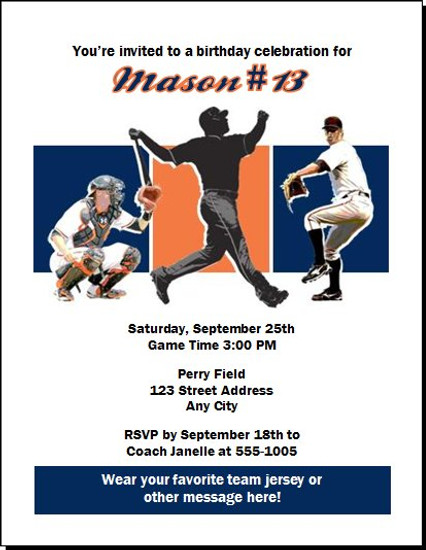 Detroit Tigers Colored Birthday Party Invitation