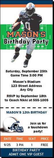 Auburn Tigers Colored Football Ticket Invitaton