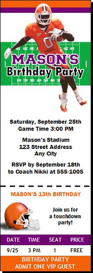 Clemson Tigers Colored Football Ticket Invitaton
