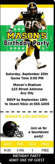 Iowa Hawkeyes Colored Football Ticket Invitaton