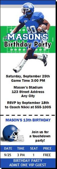 Kentucky Wildcats Colored Football Ticket Invitaton