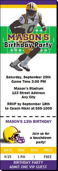 LSU Tigers Colored Football Ticket Invitaton