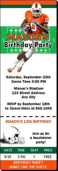 Miami Hurricanes Colored Football Ticket Invitaton