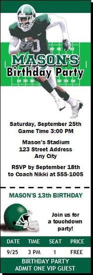 Michigan State Spartans Colored Football Ticket Invitaton