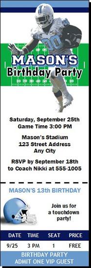 North Carolina Tar Heels Colored Football Ticket Invitaton
