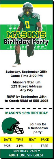 Oregon Ducks Colored Football Ticket Invitaton