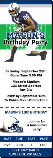 Penn State Nittany Lions Colored Football Ticket Invitaton