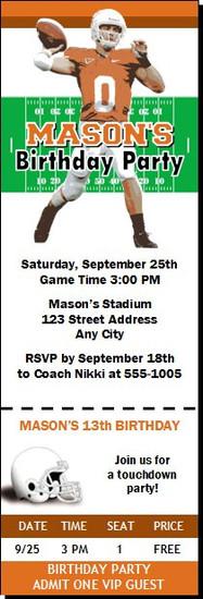 Texas Longhorns Colored Football Ticket Invitation
