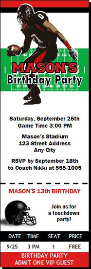 Texas Tech Red Raiders Colored Football Ticket Invitation