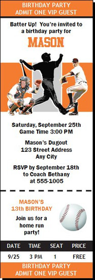 Baltimore Orioles Colored Baseball Birthday Party Ticket Invitation