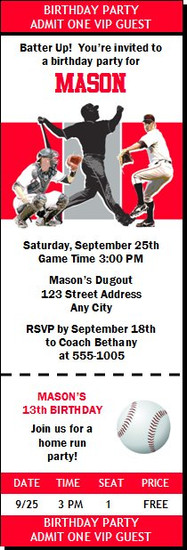 Cincinnati Reds Colored Baseball Birthday Party Ticket Invitation