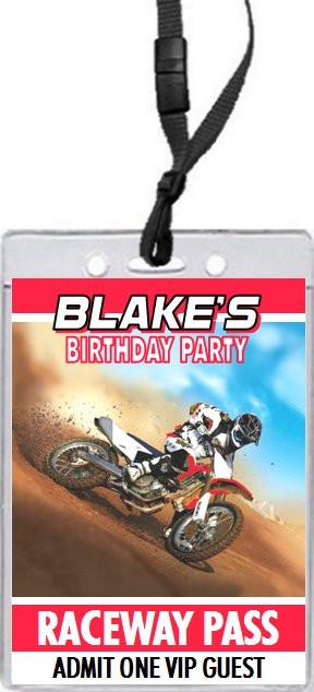 Dirtbike race red birthday party vip pass invitation filmwisefo