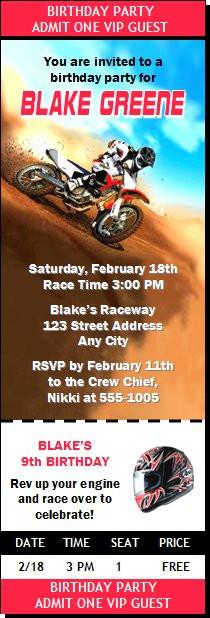 Dirtbike race red birthday party ticket invitation filmwisefo
