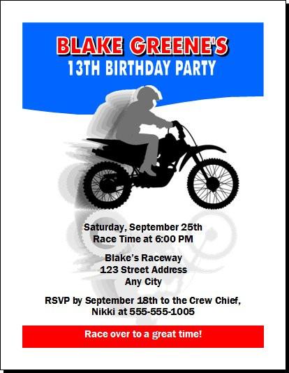 Dirtbike birthday party invitation dirtbike birthday party invitation set of 12 filmwisefo