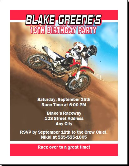 Dirtbike race red birthday party invitation dirtbike race red birthday party invitation set of 12 filmwisefo Gallery