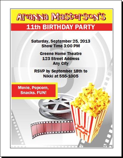 Movie Party Birthday Party Invitation