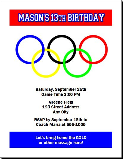 Olympic Rings Birthday Party Invitation - Olympic party invitation template