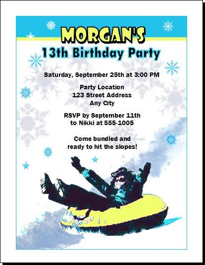 Snow Tubing Birthday Party Invitation Set of 12