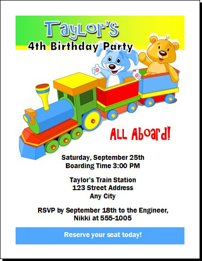 Toy Train Birthday Party Invitation Set of 12