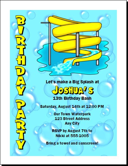 Water park birthday party invitation set of 12 water park birthday party invitation stopboris Choice Image