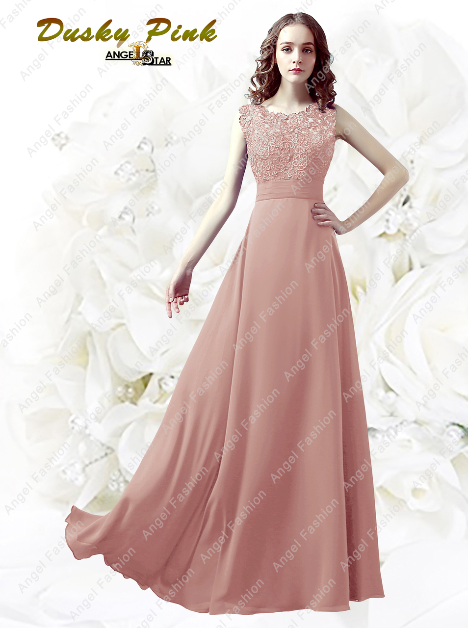Floor-length Lace back / Georgette Bridesmaid Dress/Petite Sheath ...