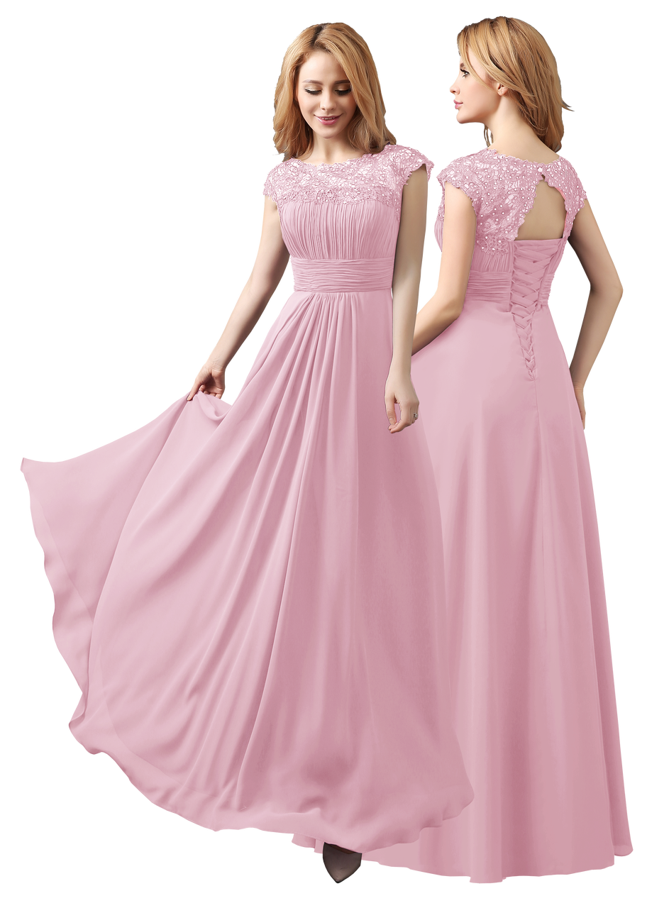 Long Chiffon Cocktail Evening Bridesmaid Party Prom Formal Gowns ...
