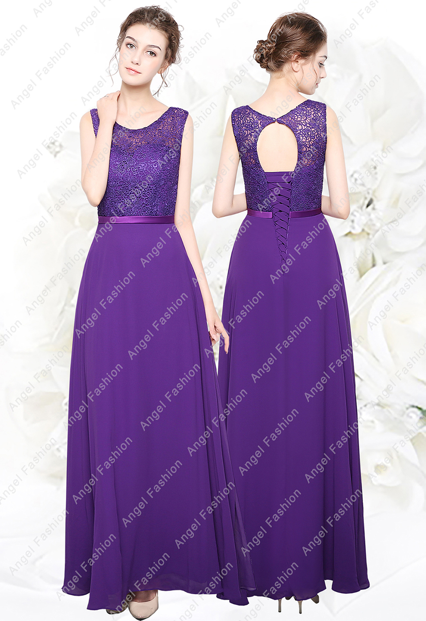 New Long Chiffon Lace Top Formal Evening Party Prom Bridesmaid ...