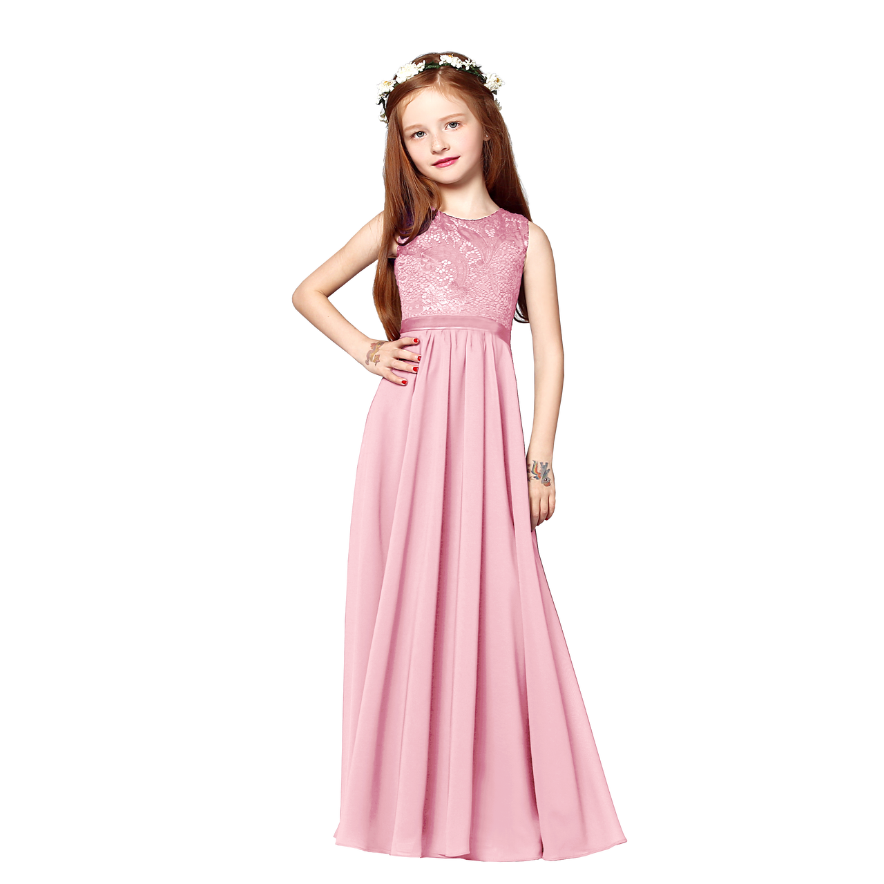 Charming Chiffon Princess FlowerGirl Party Junior Wedding Bridesmaid ...