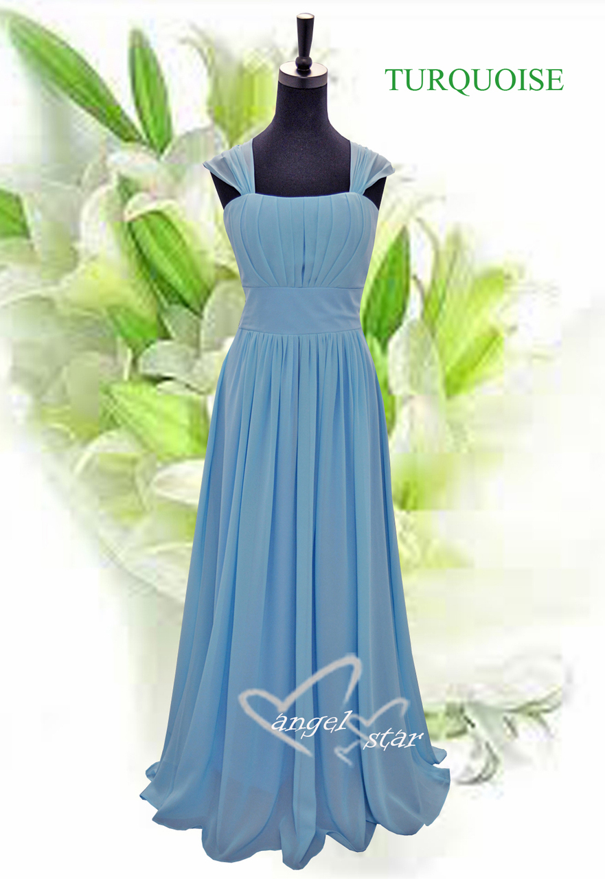 New Design Straps Ruched Long Chiffon bridesmaid Evening party Dress ...