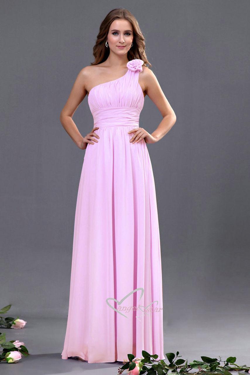 Bridesmaid One Shoulder Flower Dress - Angel Fashion ltd