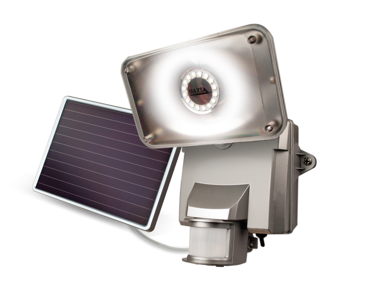 Maxsa bright solar security light in silver with 16 surface mount leds solar powered motion activated security floodlight with 16 smt leds aloadofball Images