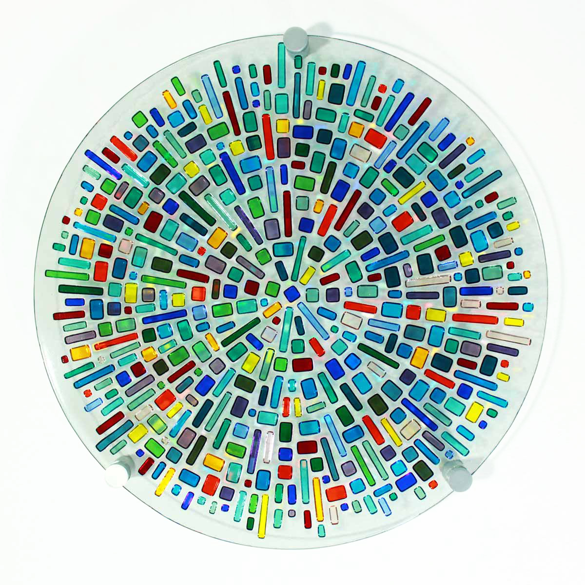 Jewel #2 kilnformed glass wall art; can also be displayed in wrought-iron stand at extra cost for the stand.