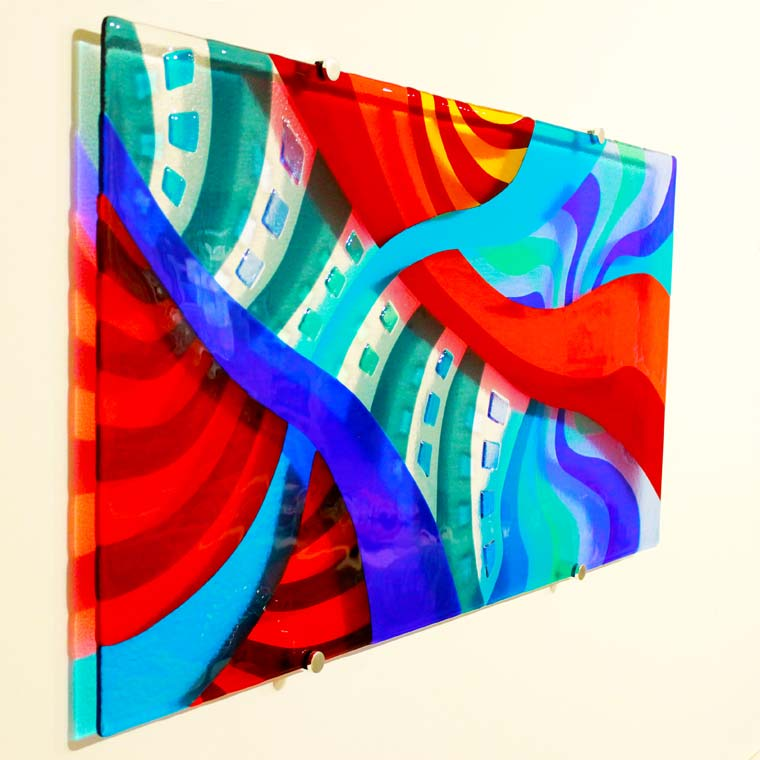 Hand-crafted and wall-mounted glass wall art from Galiani Glass Art