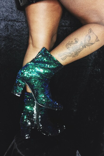 Darling At The Club Sequin Chunky Ankle Boots