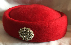 Vintage Red Wool Hat with Rhinestone Hat Pin