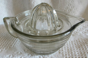 Depression Glass Grapefruit Squeezer with Bowl
