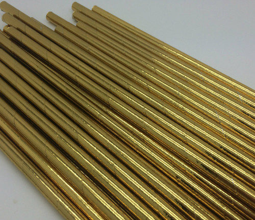 25pc Paper Straws Gold Metallic Straws