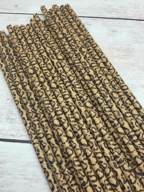 25pc Lepoard  Animal Print  Paper Straws