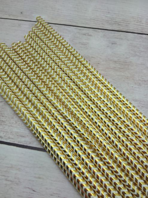 25pc Chevron Gold White Foil  Straws