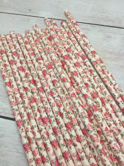 Rose  Flower Straws  25pc