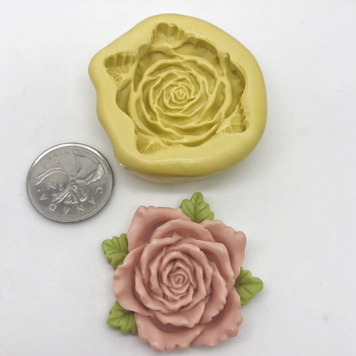 Rose Flower  With Leaves Mold Silicone