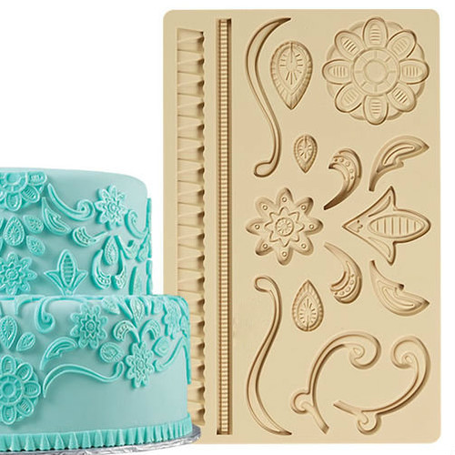 Large Lace accent  16 cavity  Silicone Mold -PM134